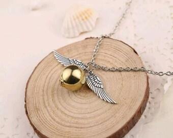 Golden Snitch Harry Potter charm necklace