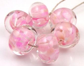 Pink Joyed Encased SRA Lampwork Handmade Artisan Glass Donut/Round Beads Made to Order Set of 6 10x15mm