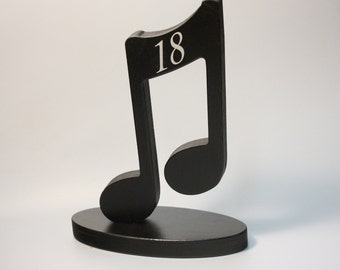 Music note wedding Table Numbers on bases party table numbers Musicians party