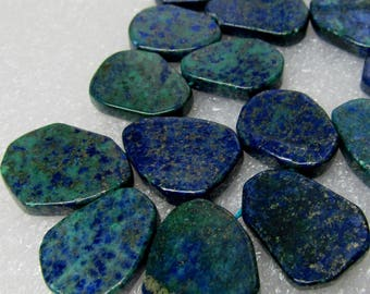 Azurite Malachite Blue, Green & Gold Freehand Carved Ovals  20 X 14mm - 8 inch Strand