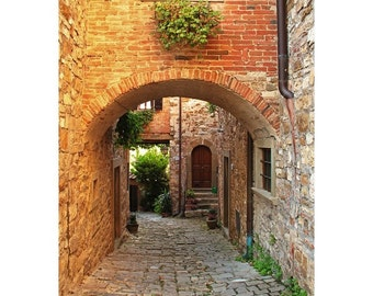 "Fine Art Color Travel Photography of Tuscany Italy - ""Arch and Lane in a Chianti Hilltown"" Vertical or Square Print"