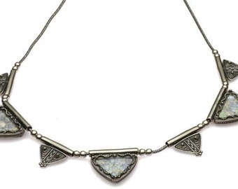 Yemenite Triangle design Necklace with Roman Glass in Sterling Silver