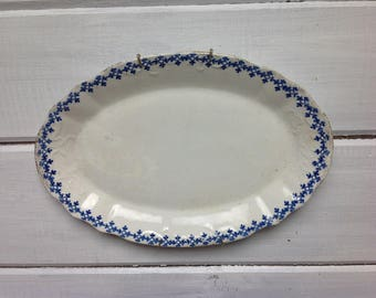 Vintage Arno WM Co Blue and White Platter with gold trim