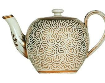Gift Tag - English Pearlware Toy Teapot, Circa 1815