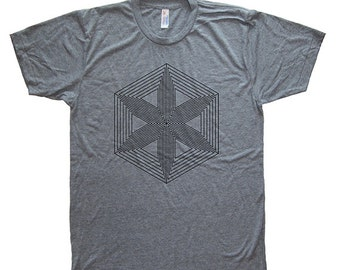 Mens T Shirt - Hexagon Star Mens / Unisex Graphic T Shirt - Tri Blend Heather Gray - Made in the USA - Hand Printed - Size S, M, L, XL - Tee