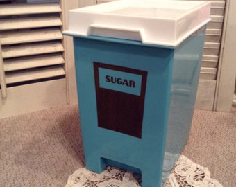 Vintage Sugar Canister - Turquoise Canister