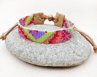 Hand Loomed Bracelet, Cuff, Leather, Adjustable, Boho, Beaded, Green, Purple, Red, Pink, Friendship, Handmade, Gift for Her, Gift for Teen