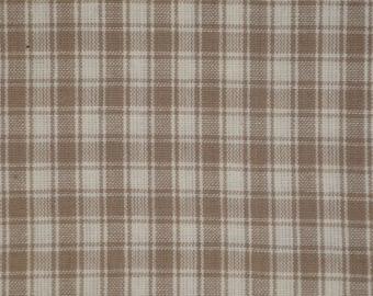 Plaid Cotton Homespun Fabric   Plaid Fabric   Cotton Rag Quilt Fabric   Home Decor Fabric   Craft Fabric   Taupe Plaid Fabric