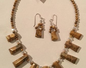 Picture Jasper and Swarovski Crystal Collarette and matching earrings