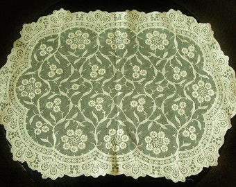 Antique Point De Gaze Ivory Lace Doily