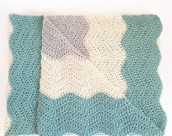 Handmade Crochet Ripple Blanket | 35 X 45 Inches | Ready to Ship