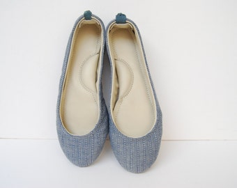 Ballerina leather and denim blue fabric flat shoes