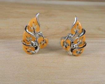 Vintage Clip on Earrings, Orange Earrings, Orange and Silver Clip Earrings, Vintage 1970s Earrings, Clip On Leaf Earrings, Fall Earrings