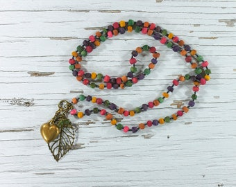 Charm necklace, long necklace, necklace, wooden beads, tassel necklace, colourful necklace, boho, shabby