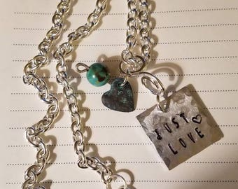 Just Love.... Silver, Hand Stamped Necklace