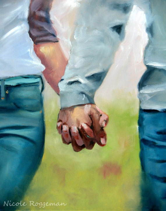 Holding Hands, clasped hands, romantic gift idea Nicole Roggeman art print 11x14 romance young love, couples hands, romantic art girlfriend