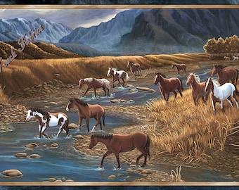 "Quilting Treasures ""Sundance"" 24794-X Mountain Horses Large Fabric Panel 23.5"" x 44"""