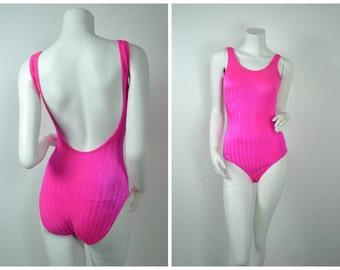 90s 80s Neon hot pink open back textured one piece swim suit
