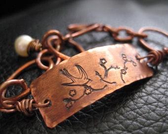 Main estampillée Bracelet Bijoux cuivre onglet chaîne Swallow Bracelet