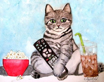 TV Zombie Cat available as blank greeting cards or prints
