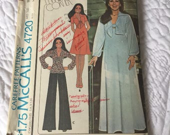 McCalls pattern #4720 from 1975. Size 12, bust 34. uncut. vintage 1970s fashion,Marlos Corner misses dress or top and pants