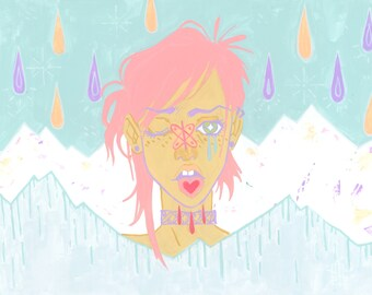 Bonbons / 11 x 14 in. Impression d'art | sourdes pastel mode hipster goth peinture