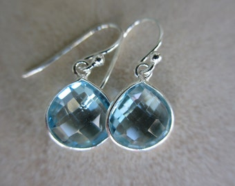 Blue Topaz Silver Earrings, December Birthstone, Drop, Small, Lightweight, Sky Blue Topaz, Irisjewelrydesign