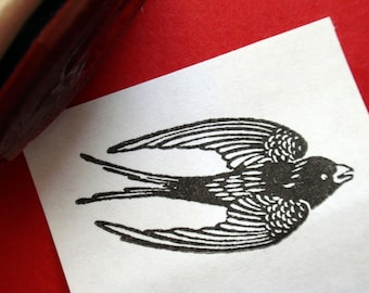 Bird Rubber Stamp Swallow Rubber Stamp -  Handmade rubber stamp by Blossom Stamps