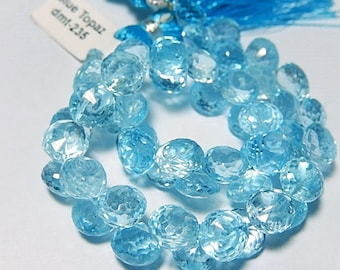 Sky Blue Topaz Gemstone, Faceted Onion Briolette, 8mm, Semi Precious Gemstone. Faceted Gemstone. Pairs or NonMatch 1 to 9 Briolettes (4tz)