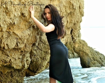 Tango Dress Reversible MIMOSA ! Low Back Ruched Dress with Slit Tail,  Tango Dress with Back Slit Tango With Love