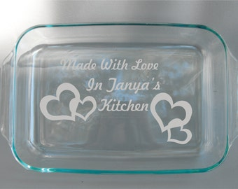 Custom Personalized Engraved Glass Dish With Lid oven and dishwasher safe