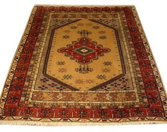 Vintage Turkish Rug - Handmade Turkish Area Rug - 4.5x5.5