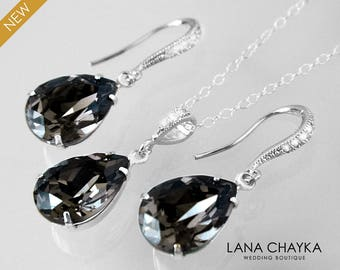 Silver Night Crystal Jewelry Set, Swarovski Earrings&Necklace Set, Charcoal Silver Teardrop Jewelry Set, Bridesmaid Bridal Charcoal Jewelry
