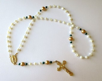 Mother of Pearl Rosary with Emerald Accents, May Birthstone Rosary with Miraculous Medal Center