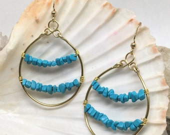Hold Tight - Turquoise And Gold Hoops - tumbled stone chips - hammered brass hoops - Natural, Mineral Beauty