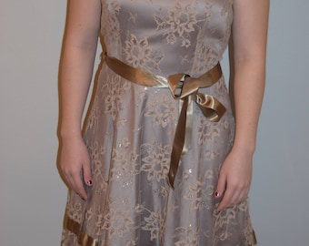 Vintage taupe formal dress with lace overlay