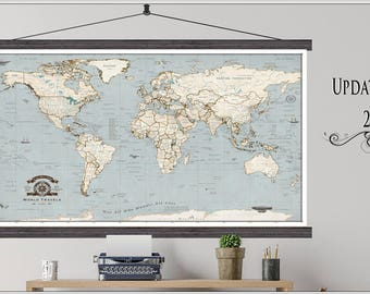 World travel map push pin travel mapamed or hanging travel world push pin travel mape best travel map ever framed or hanging travel gumiabroncs Gallery