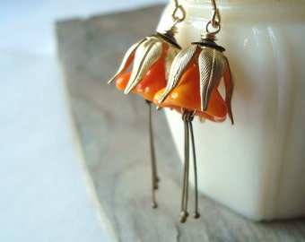 Pumpkin Blossom Earrings Brass Vintage Style Fall Fashion Flower Jewelry Halloween Floral Earrings Gifts Under 40 Art Nouveau Style