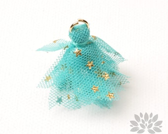 T024-MT// Gold Jumpring Star Pointed Mint Mesh Fabric Tassel Pendant, 4pcs