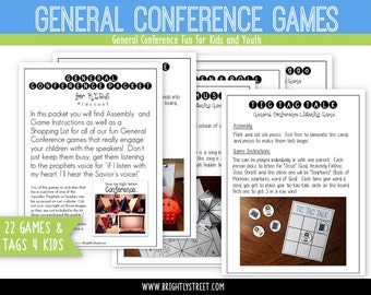 """General Conference Packet for Kids """"Listening Games"""""""