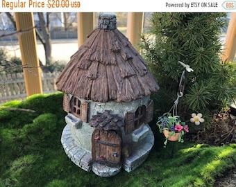 "SALE Fairy Garden House, ""Nutty Nook"" With Hinged Door, Resin Garden House, Mini Stone Look House, Fairy Garden Accessory, Home & Garden Dec"