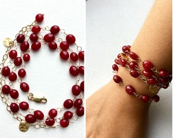 Long Red Necklace, Red Necklace, Red Bracelet, Gemstone Jewelry