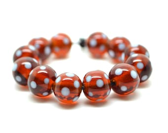 Lampwork glass bead  - dots on honey -  beads / 12 pieces