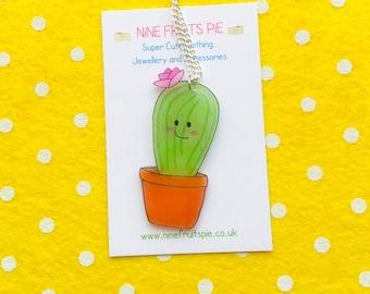 Large super kawaii flowering cactus earrings
