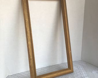 Vintage Wood Picture Frame / Gold Wood 8 X 16 Inch Frame / Made in Mexico