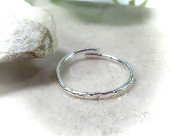 Toe Rings Sterling Silver Chisled Adjustable - Chisled Stacking Toe Ring, Adjustable Toe Ring, Silver Toe Ring, Knuckle Ring, Midi Ring