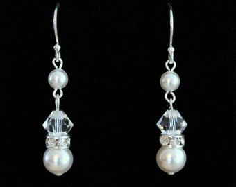 Pearl Earrings, Pearl Dangle Earrings, Sterling Silver Earrings, Swarovski Crystal Earrings, Wedding Earrings, Bridal Earrings, Birthday