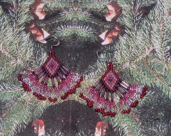Native American Style, PINK, RED, BLACK Beaded Earrings - Seed and Bugle Bead Earrings With Fringe - 1-1/2 Inches Long -  Diamond Design