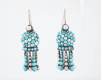 Antique Dangle Earrings Victorian Cabochon Cut Turquoise & Pearls in 14/15K Yellow Gold