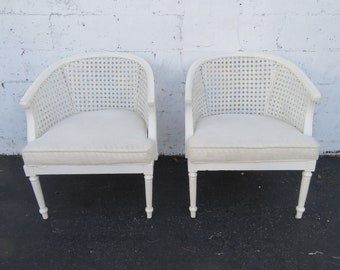 French Pair of Caned Barrel Shape Painted Side Chairs 8782
